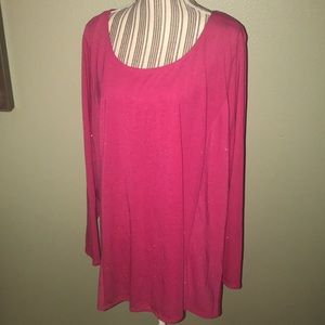 2XL Pink with shimmer, crewneck